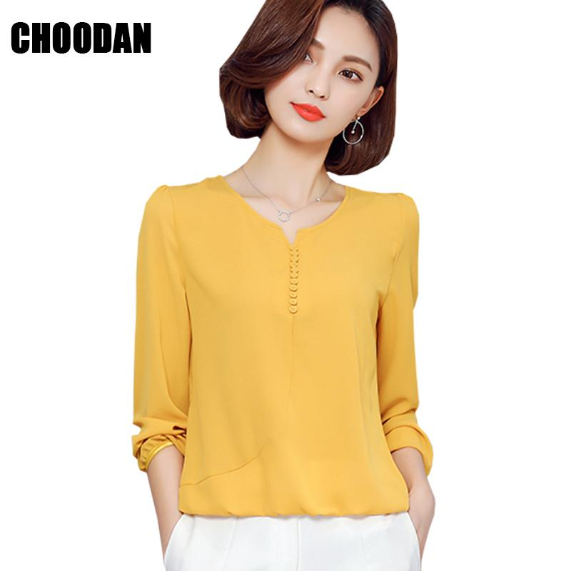 Wholesale Long Sleeve Blouse Shirt Women Clothes 2017 Autumn Korean Style V  Neck Solid White Yellow Red Pink S 4XL Large Size Female Tops UK 2019 From  ... 0f2bf2e74e62