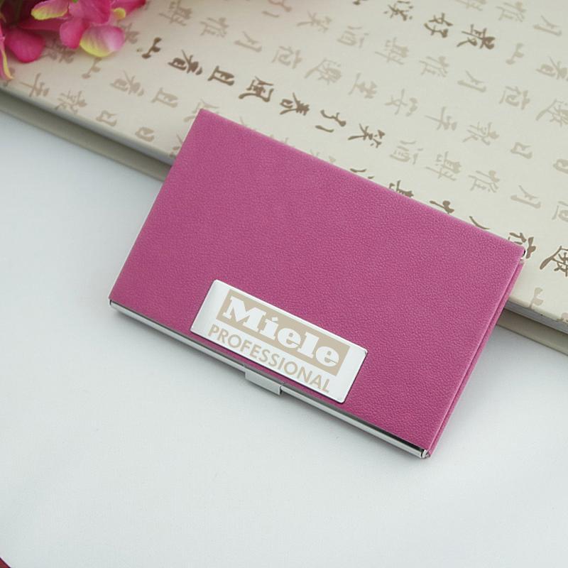Custom Logo Leather Pu Business Card Holder Name Card Case