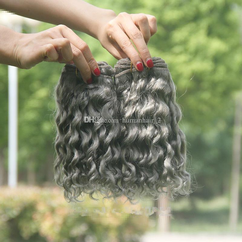Gümüş Gri Derin Dalga İnsan Saç Uzantıları 3 Adet çok Saf Renk Gri Brezilyalı 9A Bakire İnsan Saç Siyah Kadınlar Için 3 Demetleri Fırsatlar Örgüleri