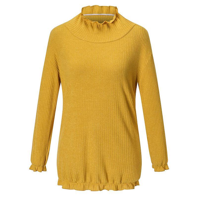 5b4a73e30faf Compre Mujeres Suéter De Punto Color Liso Cuello Alto Adorno De Volantes  Damas Elegantes Prendas De Punto Elástico Hemline Manga Larga Suéter Suelto  Top A ...
