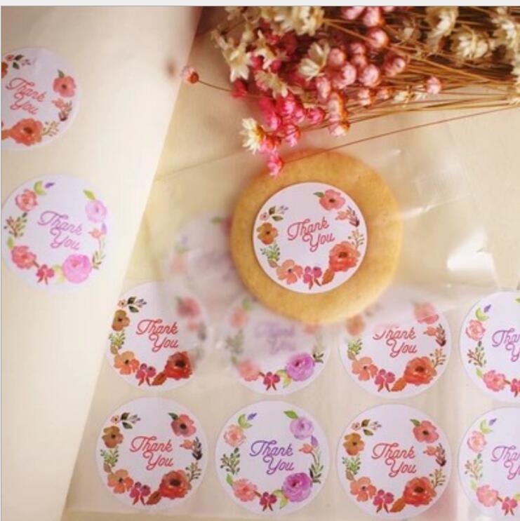 120pcs Rose Blume Danke Siegel Etikett Adhesive Kraft Backen Siegel Aufkleber Geschenk Aufkleber Hochzeit Dichtungen Geschenk Aufkleber