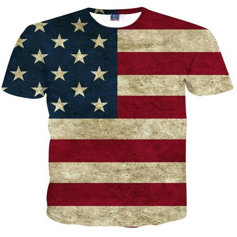 Designer 3D T Shirts USA Flag T-shirt Men 3d Tshirt Print Striped American Flag Fashion Tide Women T Shirt Summer Tops Tees M-4XL