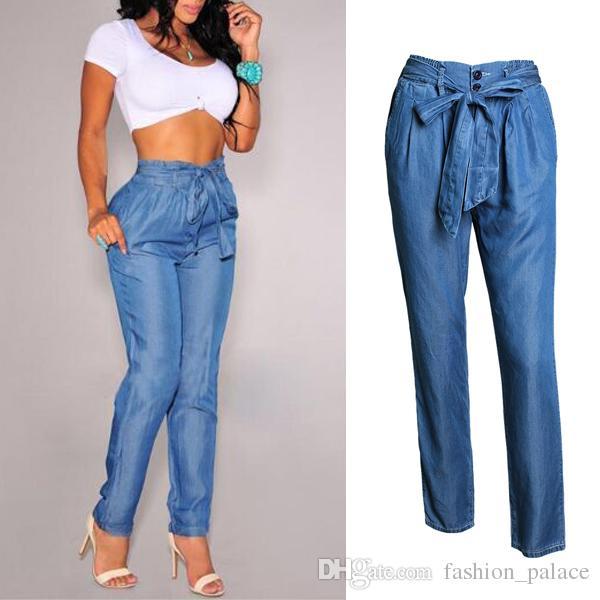 1009f34e5e9 Acheter Femmes Junior Curvy Jeans Droite Avec Ceinture Auto Tie Slim Fit Élastique  Taille Haute Jeans Pantalon BSF0331 De  24.13 Du Fashion palace
