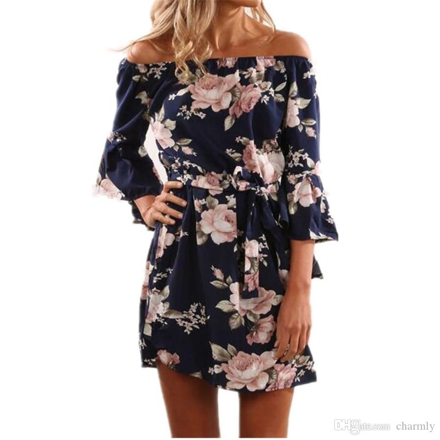 33ad737c5b86 2017 Summer Floral Print Dress Sexy Off The Shoulder Slash Neck Beach Dress  Casual Flare Sleeve Women Dress Vestidos Women Dress Casual Women Dress  Summer ...
