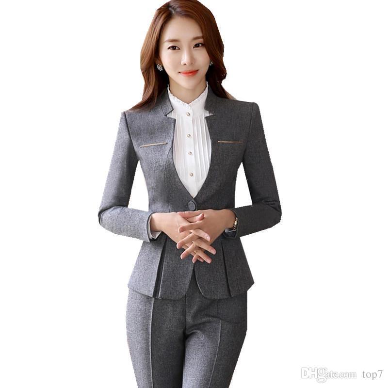 Acheter 2018 Automne Pantalon Costume Pour Femmes Élégant V Cou Blazer +  Long Pantalon 2 Pièces OL Bureau Lady Business Pant Blazer Costume Ow0400 De  $54.38