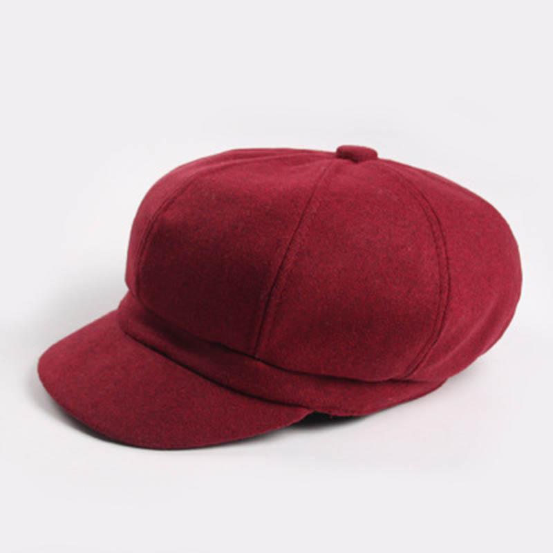 1c86a5abc13 Autumn Winter Fashoin Newsboy Cap Women Pure Color Cashmere Hats ...