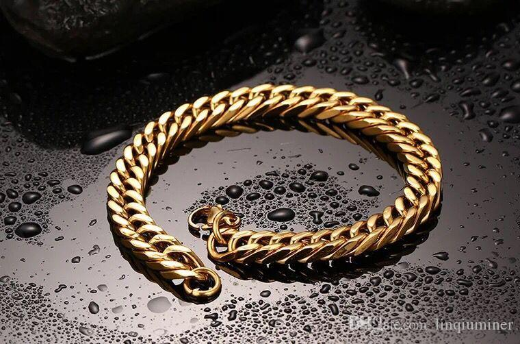 18K PLATED gold stainless steel bracelet cool mens. hip hop jewelry for men.s bangle