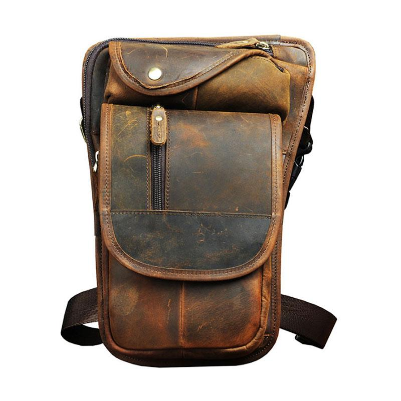 Men Oil Wax Genuine Leather Cowhide Travel Motorcycle Ridin Fanny Pack Waist Thigh Drop Leg Bag Pouch For Men