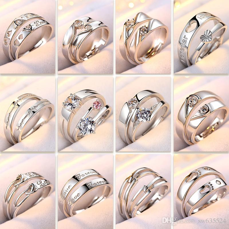 925 sterling silver ring new high-quality platinum gold-plated couple  diamond ring men and women luxury wedding jewelry free of charge