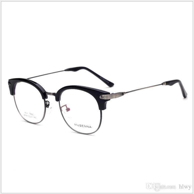 c516ee097f17 2019 Retro Metal Half Frame Open Ball Myopic Glasses Frame 2916 New 2018 Men S  Female Style Universal Glasses Frame From Hlwy
