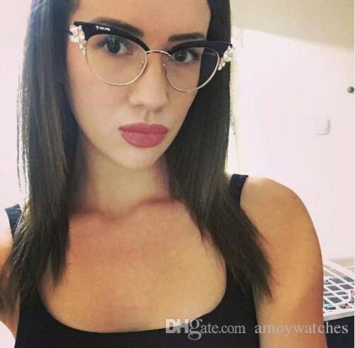 ecec6030fc3 Designer Frames Glasses Ladies Cat Eye Shiny Rhinestones Glasses Frames For  Women Brand Designer Eyewear Optical EyeGlasses Women Glasses Frame Designer  ...
