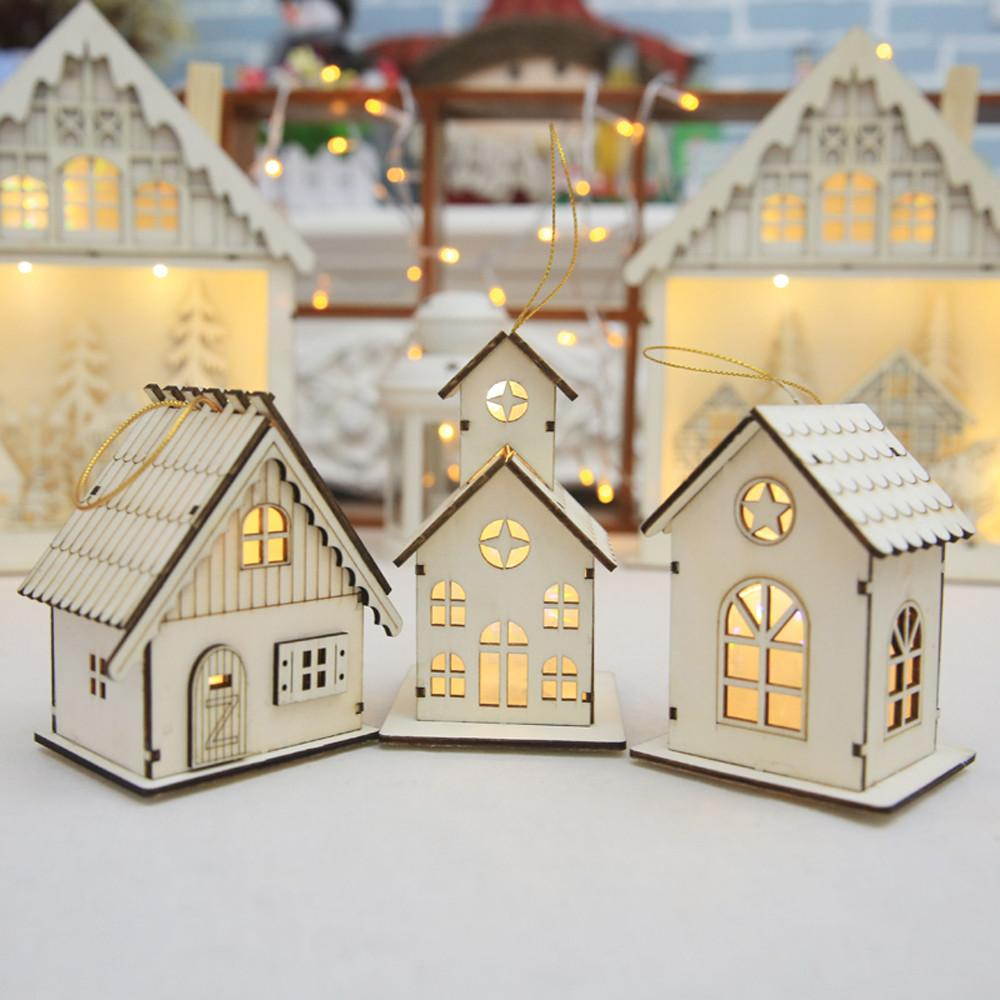 new year christmas led luminous cabins pendant table cabins pendant ornaments christmas decoration for home enfeite de natal sale on christmas decorations - Cabins Decorated For Christmas