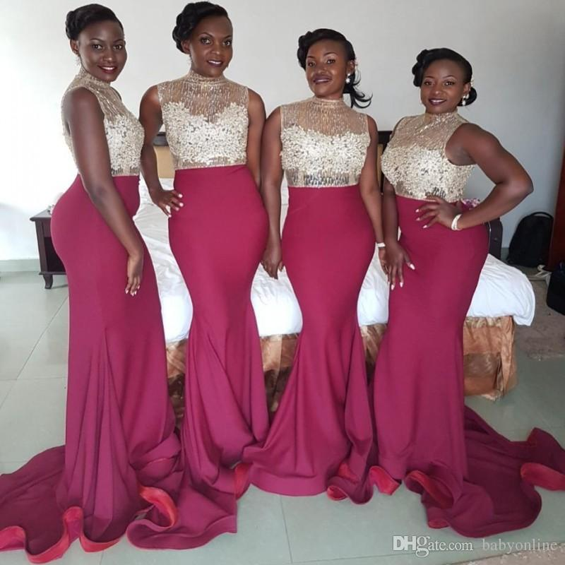 South African Arabic Mermaid Bridesmaid Dresses 2018 High Neck Silver Beads  Fuchsia Long Maid Of Honor Gowns Plus Size Prom Evening Dress Short Sleeve  ... 96fb9d0875d0