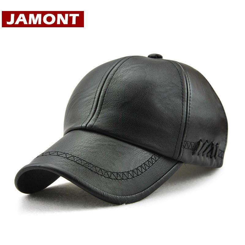 e6fceb1721d JAMONT New Design Men Baseball Cap Winter Snapback Hat 100% PU Leather Hats  Winter Male Caps Simple Style Casquette Starter Cap Big Hats From Duweiha