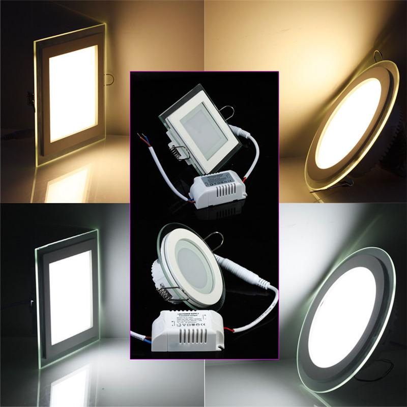 18w Round Square Glass Led Downlight Recessed Led Panel Light Spot Ceiling Down Light Ac110v 220v Warm Cold White Bathroom Led Downlights Gu10