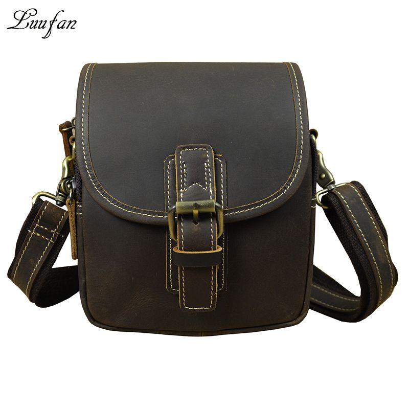 Men S Genuine Leather Waist Bag Dark Brown 2 Use Small Messenger Bag  Cowhide Waist Pack Shoulder Strap Leather Messenger Black Bags Wheeled  Backpacks From ... 4f45e55ff1e6e