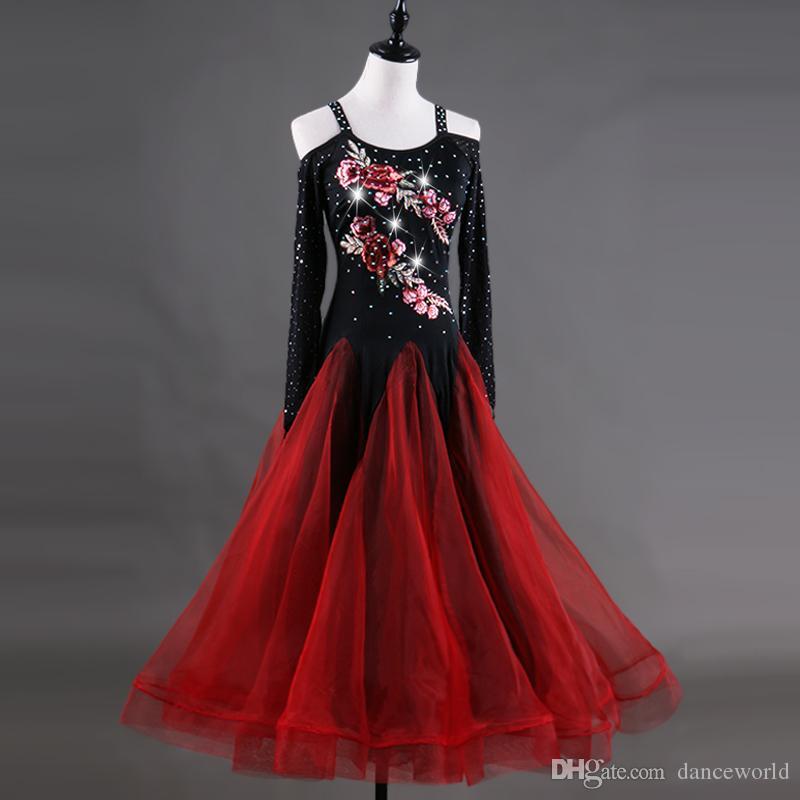 Nouveau Danse De Concours Robe De Danse Robe Kaka Robe Robe De Flamenco Pour La Danse Latine Jazz Femmes Pour Lulu Rouge Vêtements De Compétition Porter
