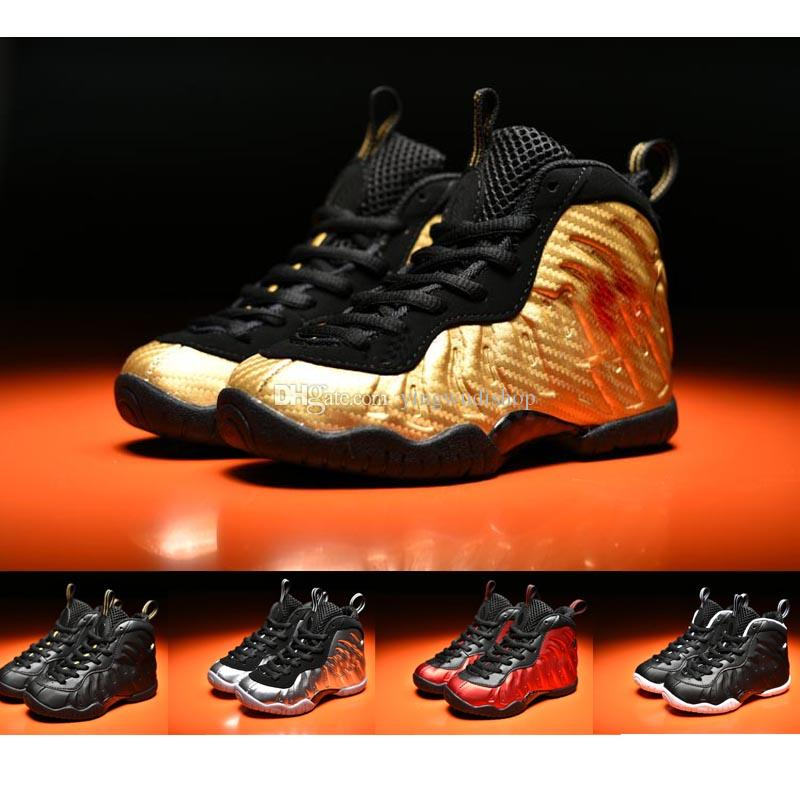 new products b0baa e9f73 Metallic Gold Penny Hardaway kids Childrens Sneakers Silver Surfer Age Dr.  Doom University Red Basketball Shoes for Girls Boys