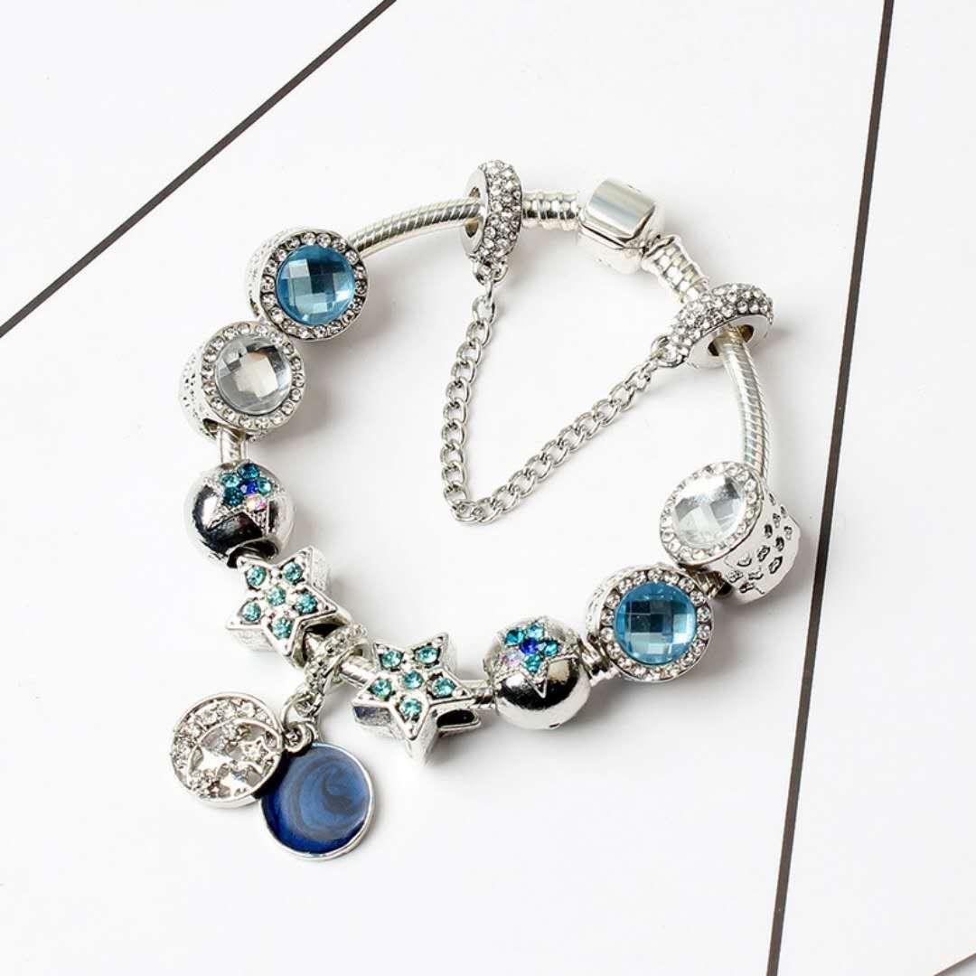 New Charm Pandor Bracciali Blue Cats Eyes Beads Bracciale 925 Bracciali in argento Bright Stars Moon Bangle Gioielli fai-da-te con logo originale