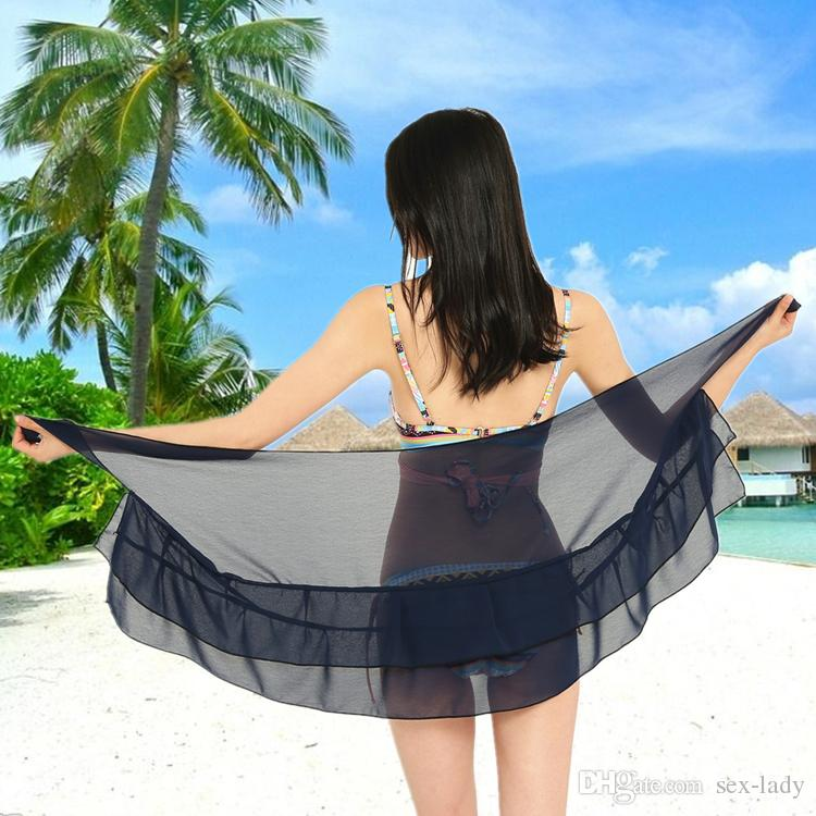 2018 Brand New Summer Girl Beach Dress Sexy Solid Bordered Swimwear Sarongs Bathing Beachwear Kids Swim Shourt