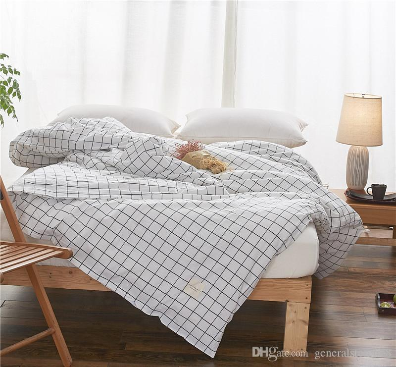 Solid Color Duvet Cases Pillow Covers Flat Bed Striped Bedding Checked Comforter Set Cheap In Stock Free Shipping
