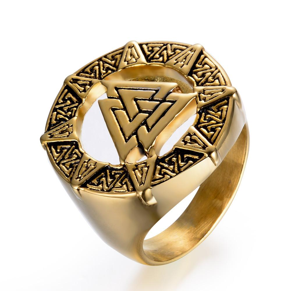 AMGJ Nordic  Odin Symbol Stainless Steel Rings Viking Warrior Men Ring Punk Style Vintage Paty Jewelry Gifts