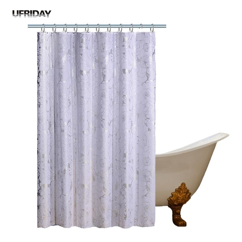 2019 UFRIDAY Luxury Waterproof Shower Curtain Silver Floral White Polyester Bath Flower High Quality Eco Friendly New From Sheiler 2532