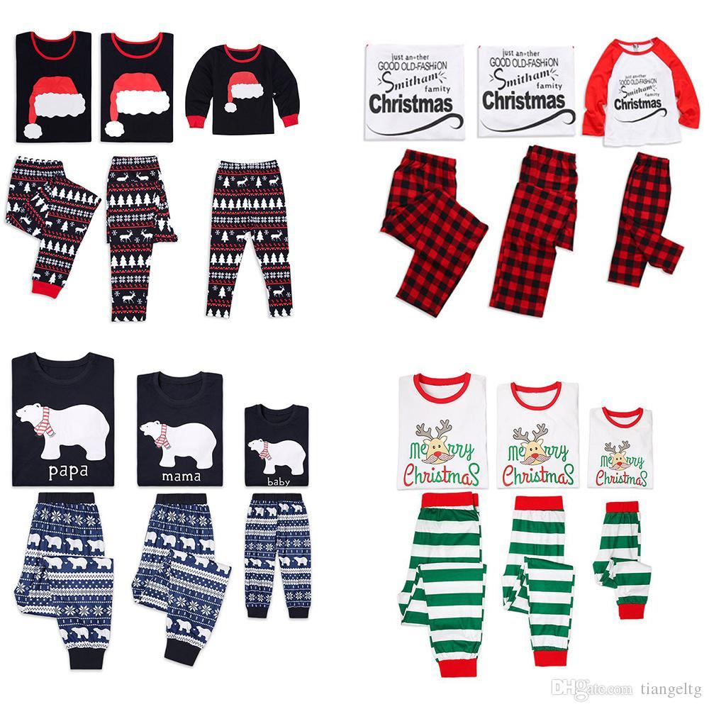 e4b17ba491 Xmas Family Pajama Outfits Santa Elk Christmas Letter Designer Plaid  Striped Tribal Polar Bear Adult Kids Matching Home Clothing Set Outfits  Matching ...