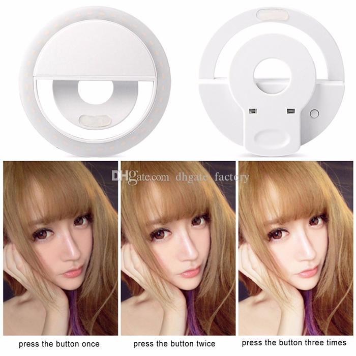 Nouveau Charging LED Flash Beauty Fill Selfie Lampe EXTÉRIEURE Selfie Bague Lumière Rechargeable pour tous les téléphones mobiles