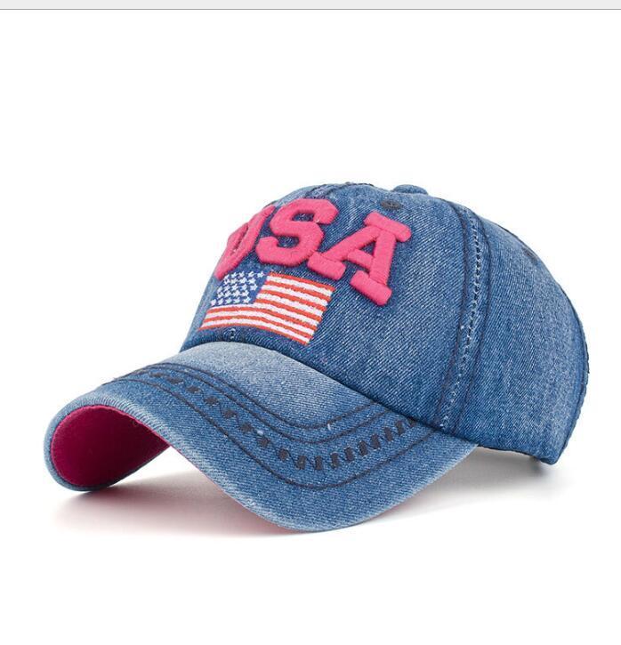 Fashion Baseball Cap Women Men American Flag Rhinestone Jeans Denim ... 7b393e987397