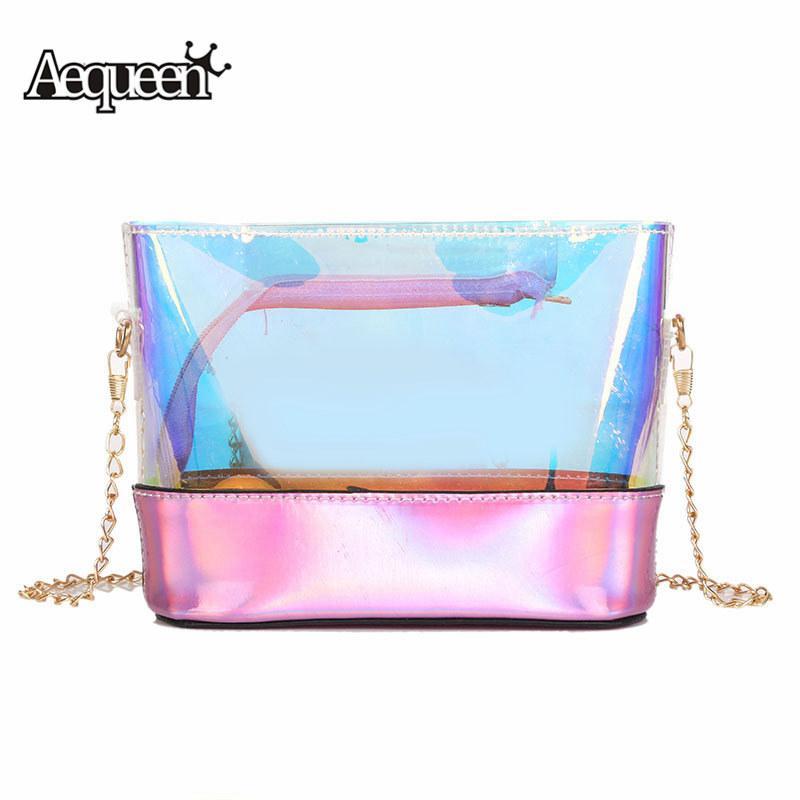 Wholesale Holographic Laser Bags Women Handbags Clear PVC Transparent  Shoulder Bags Pink Jelly Chain Messenger Bags Ladies Feminin Ladies Purses  Handbag ... 3c6ffe7c914f2