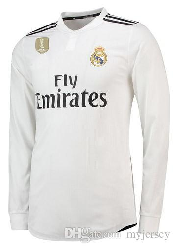 huge selection of f308a a73b0 Custom 18 19 Real Madrid Long Sleeve Soccer Jerseys Sergio Ramos ODRIOZOLA  Kroos Bale Marcelo Asensio Isco Modric 2018 2019 Football Shirt