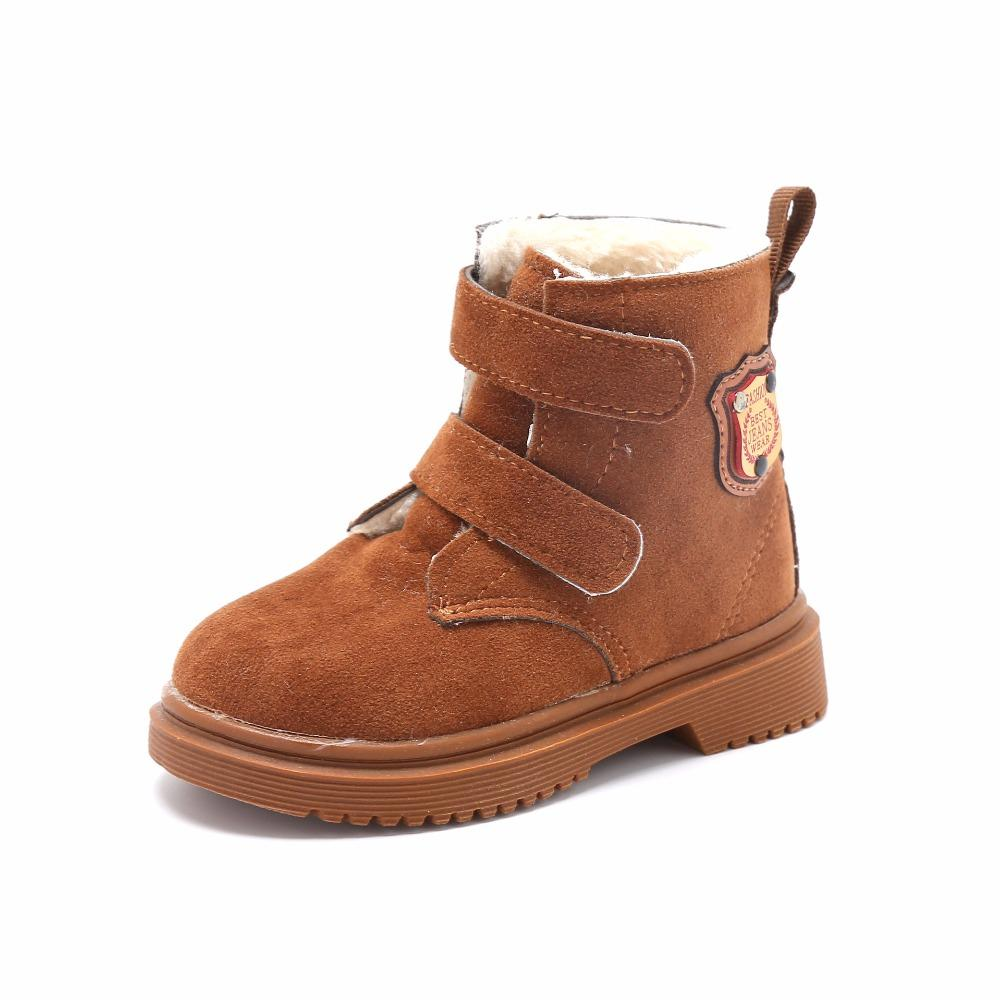 5805bb526016a KINE PANDA Nice Warm Baby Boots Winter Toddler Baby Boy Girl Boots With  Plush Kids Shoes Boys Girls PU Leather Cheap 22 26 Toddler Girls Cowboy  Boots Rain ...