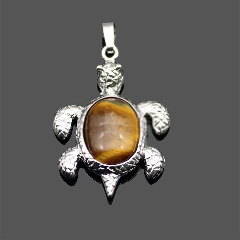 جديد الحجر الطبيعي قلادة الأحجار الكريمة البحر السلاحف سحر السلحفاة قلادة diy قلادة للنساء الرجال المجوهرات