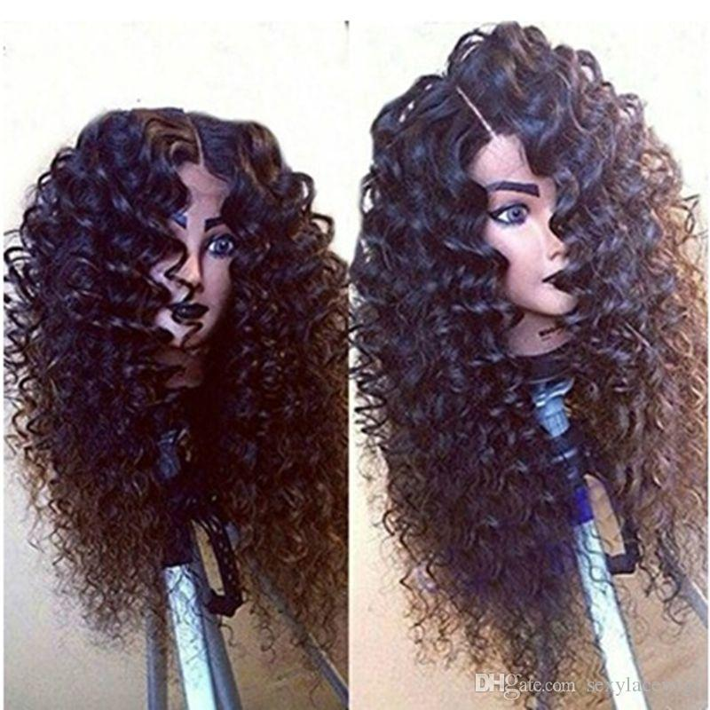 Wholesale Natural 1b# 6# Black Brown Loose Curly Long Wigs with Baby Hair Heat Resistant Glueless Synthetic Lace Front Wigs for Black Women