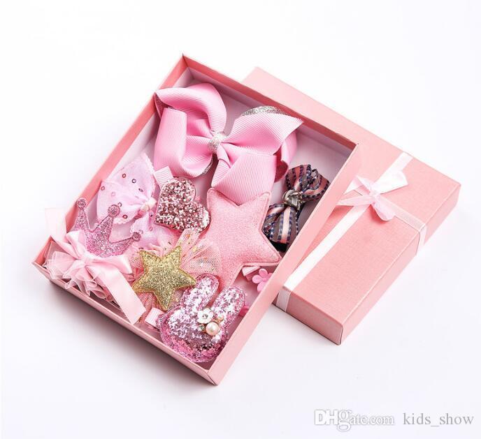 =Sweet Hairpins Girls Hair Accessories Colorful Barrettes Child Infants Headwear Set Bow Hair clip Headdress