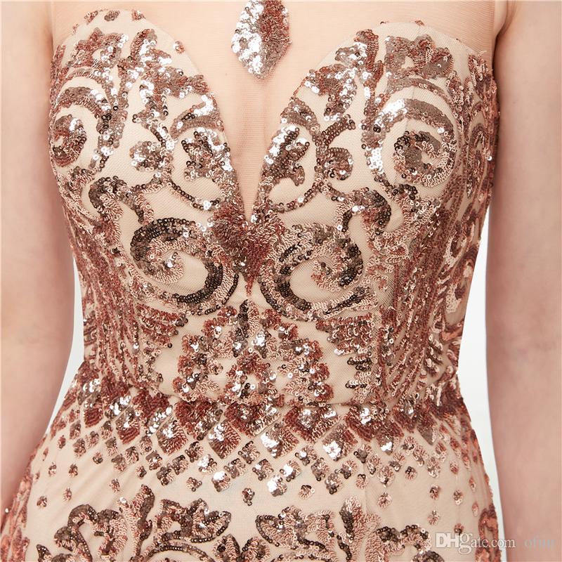 Сексуальные блестки русалка вечерние платья прозрачные вечерние платья без рукавов жемчужина выпускного вечера платья аппликации свадебное платье для гостей вечернее платье C0012
