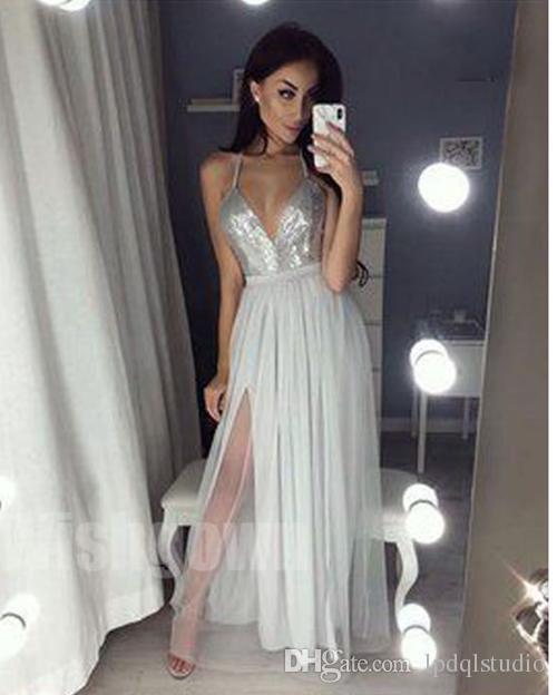 Sexy paillettes argento abiti da sera lungo abito da sera a terra diviso piano lunghezza abito da ballo economico