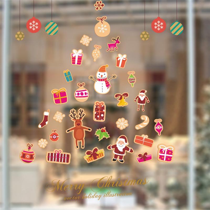 Adesivi Buon Natale.Commercio All Ingrosso Di Pvc Buon Natale Festival Adesivi Decorativi Da Parete Soggiorno Decorazione Di Vetro Decalcomanie Per La Casa Fai Da Te