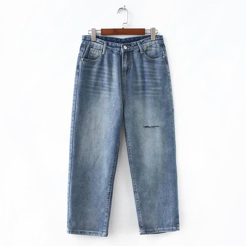 b8e97bf9cef 2019 S46 Autumn Winter Plus Size Women Clothing Jeans 5XL Casual Fashion  Loose Cut Holes Denim Straight Pants 6757 From Liangcloth