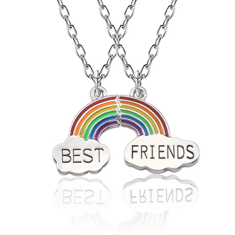 3ca544d6a Wholesale Enamel Rainbow Cloud Pendant Necklace Best Friend Necklace Set BFF  Friendship Jewelry Gift For Friends Collares Gold Circle Pendant Necklace  ...