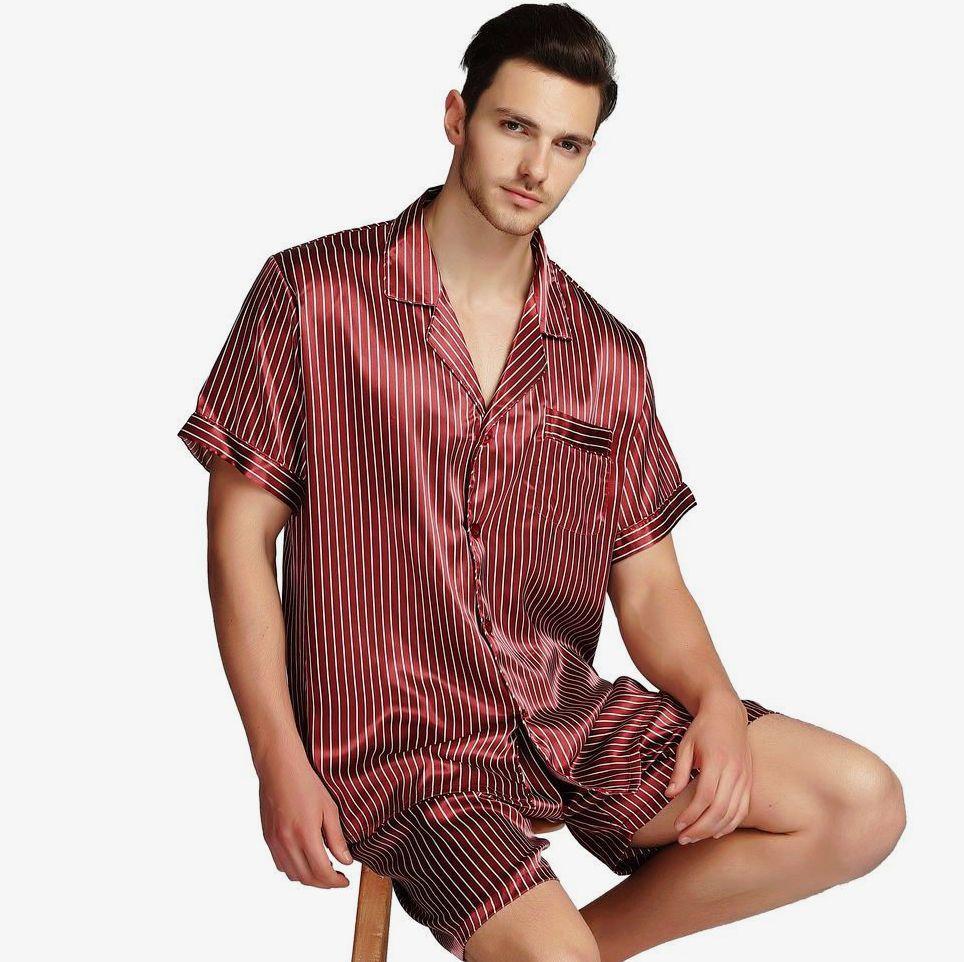 bbd20919b8 2019 Mens Silk Satin Pajamas Pajama Pyjamas Set Sleepwear Set Loungewear  M