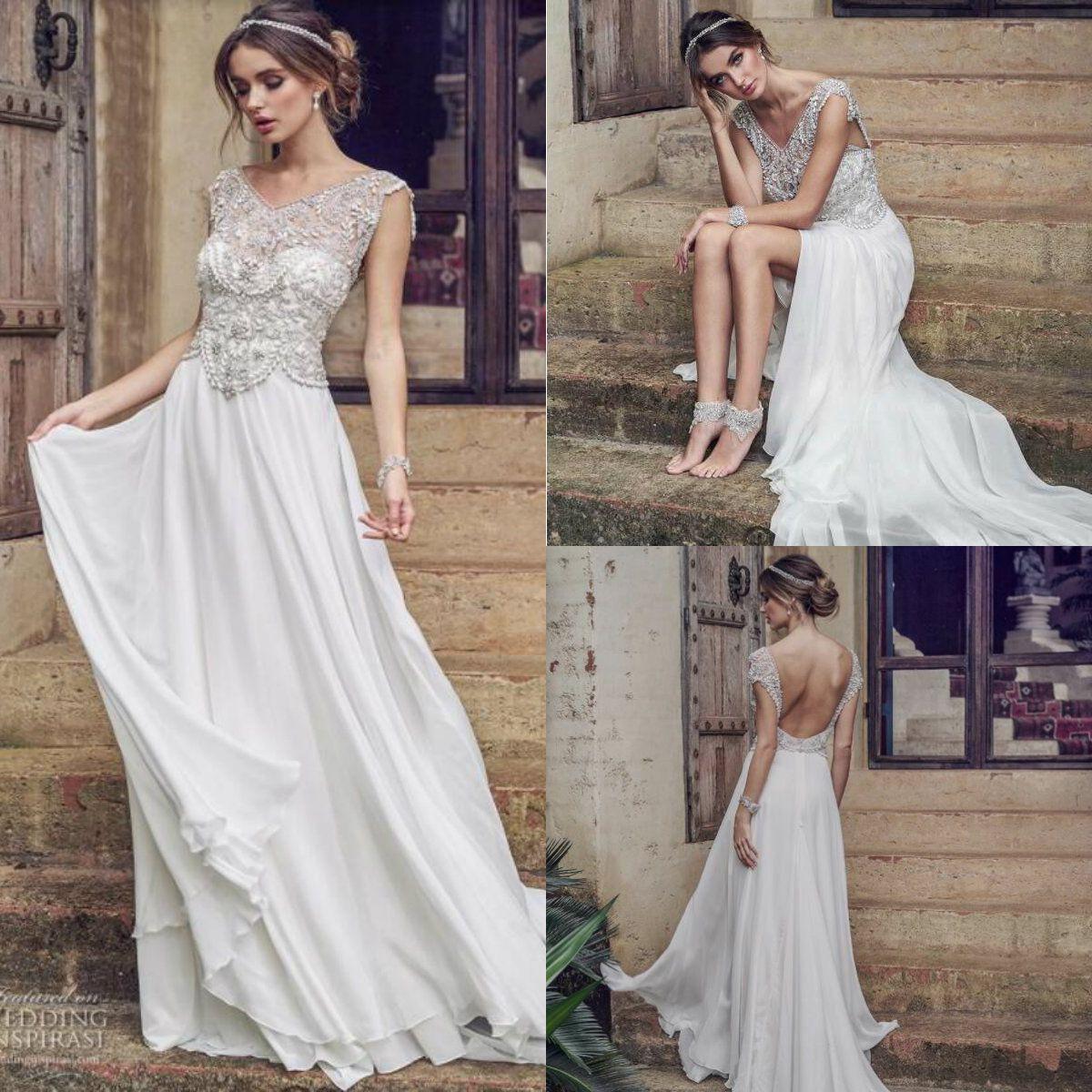 discount vintage bohemian wedding dresses v necl lace crystal pearls chiffon boho bridal gowns. Black Bedroom Furniture Sets. Home Design Ideas