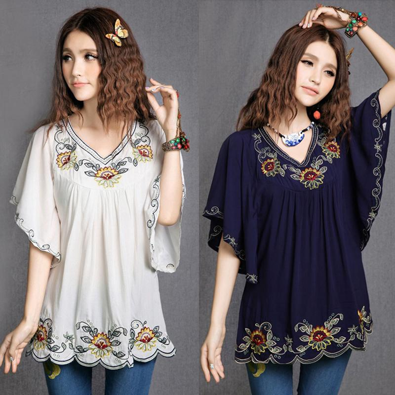 9f4d4c8ed28 2018 Women Cotton Tops Blouse Tunic Vestidos Vintage Mexican Ethnic Floral  Embroidery Mini Dresses Loose Casual Boho Dress Y1891108 Bridal Dress One  ...