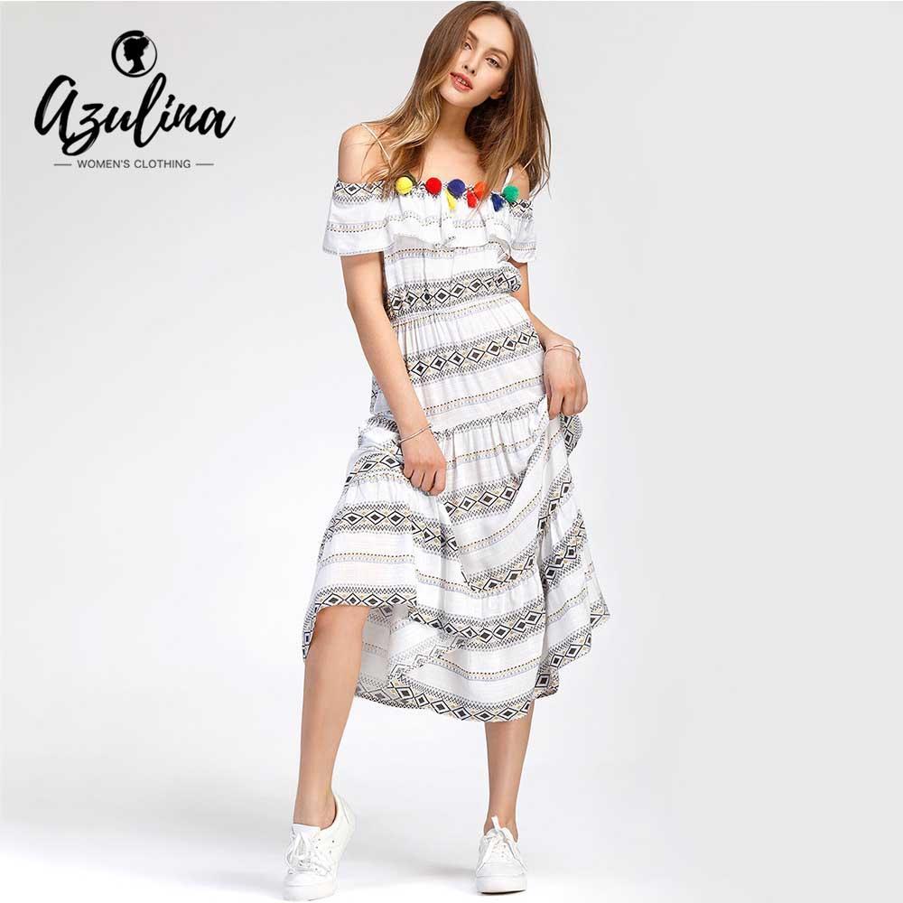 248dc956a155 20187 AZULINA Open Shoulder Geometric Printed Bohemian Dress Women Dresses  2018 Summer Spaghetti Strap Short Sleeves Dress Robe Female White Cocktail  Party ...