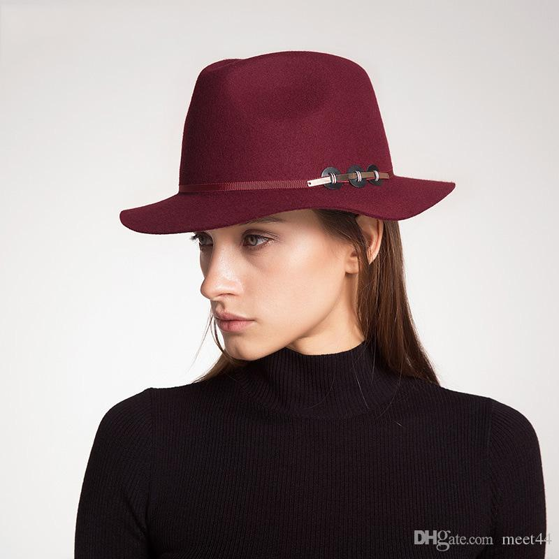 Fall Winter Ladies 100% Wool New Fashion Leisure Vintage Jazz Cloches Bowler Hat 3 Colors Cap