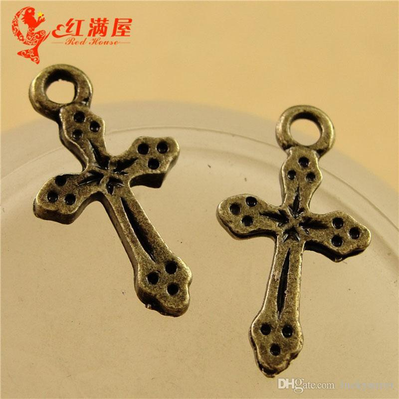 A3604 11*19MM Antique Bronze Small cross charm pendant beads, DIY jewelry wholesale religious charm cultural products, metal pendants