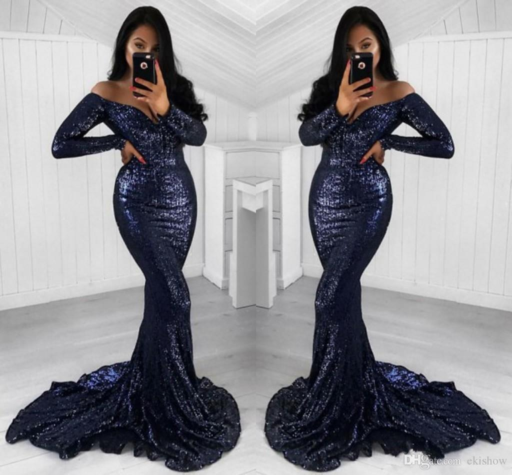 2018 Hot Sparkly Dark Navy Sequins Mermaid Evening Dresses Long Sleeves Off Shoulder Sweep Train Formal Prom Gowns Women Wear Custom Made