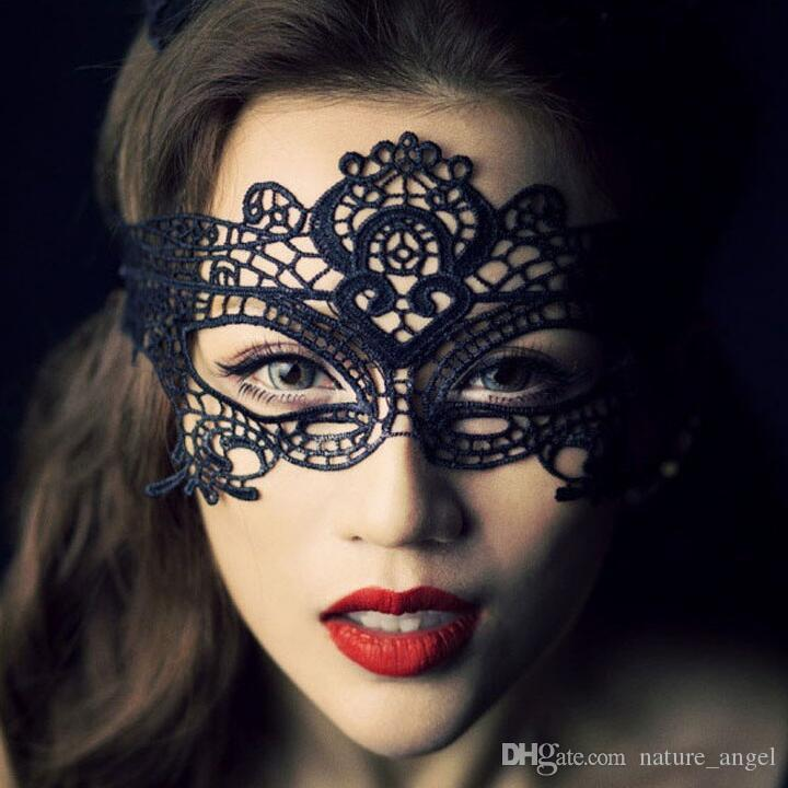 DHL Ship Sexy Eye Lace Masks Female Half Face Lace Eye Masks Hollow Flower Party Mask Masquerade Solid Sexy Black Woven Eye Masks