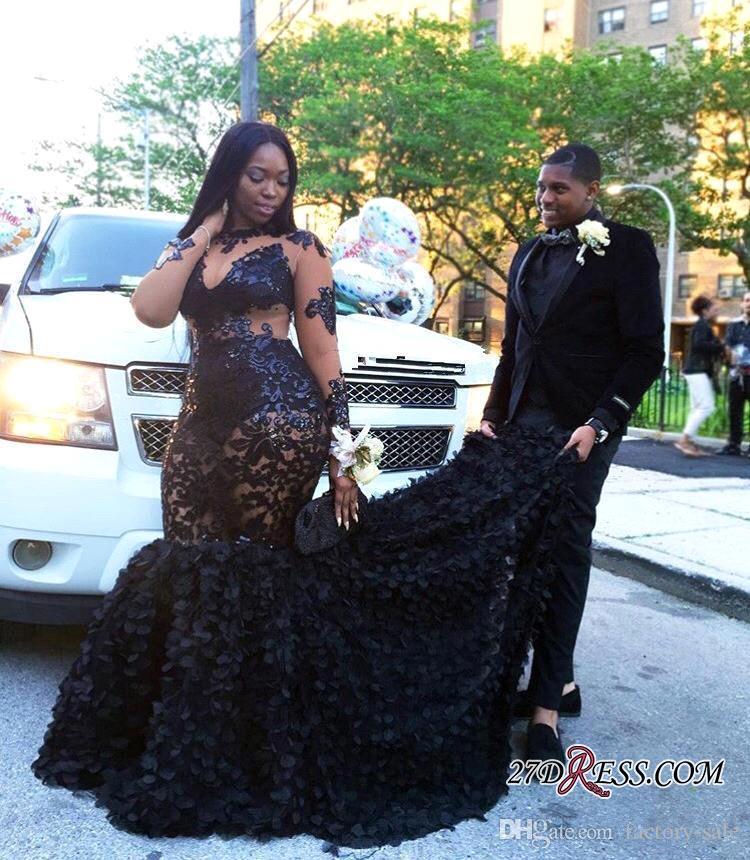 Luxury 2018 Plus Size Black Girls Mermaid Prom Dresses Sheer Neck Long  Illusion Sleeves Formal Evening Dresses Custom Made BA8152